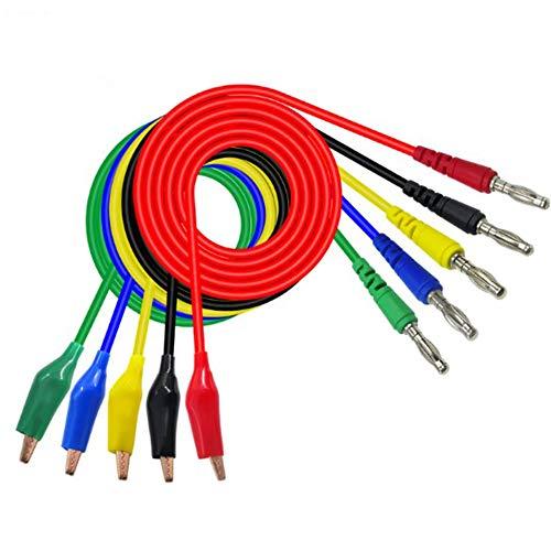 5 Stück Banana Plug Kabel 10mm Kupfer Krokodilklemme 1m Messleitung 4mm Bananenstecker 5 Farben Kabel Messleitungen Für Multimeter Spannungsprüfer Strommessgeräte Stromprüfer Widerstandsmessgeräte