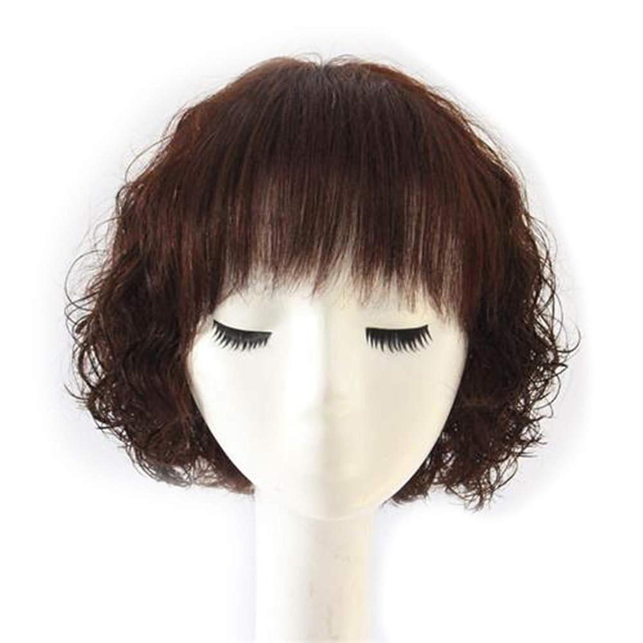 行き当たりばったり経過ガードYrattary 女性のためのフルリアルヘアウィッグショートカーリーヘアーナチュラルリアルマザーヘアーウィッグファッションウィッグ (Color : Dark brown)