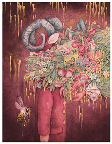 Imprimir En Lienzo 60x90cm Sin Marco Figura de arte abstracto moderno flor en la marioneta de cabeza para decoración de sala de estar