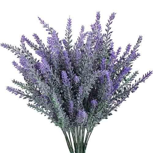 XHXSTORE 4 Pcs Künstliche Lavendel Blumen 7 Köpfe Kunstblumen Lavendel Kunstpflanzen Lila Unechte Pflanzen Plastikblumen für Draußen Innen Hochzeit Balkon Garten Vase Hause Dekoration