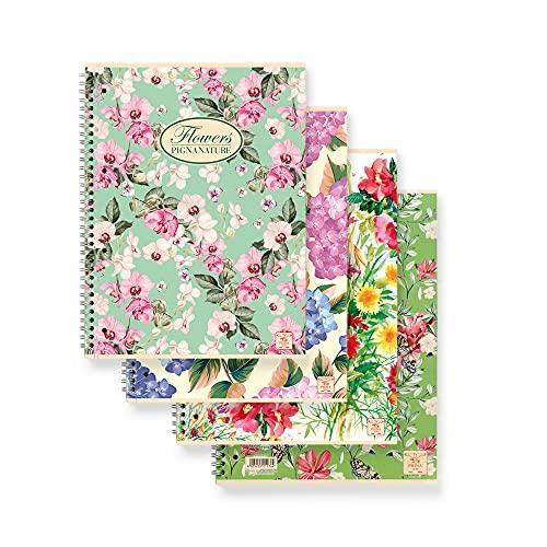 Pigna Nature Flowers , 02182571R , Quaderno Spiralato f.to A4 , Quaderni a righe 1R, Confezione da 5 Pz.