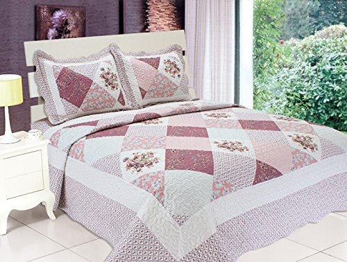 All For You 3-piece Reversible Bedspread/Coverlet / Quilt Set-with patchwork prints-(pink and purple, king)