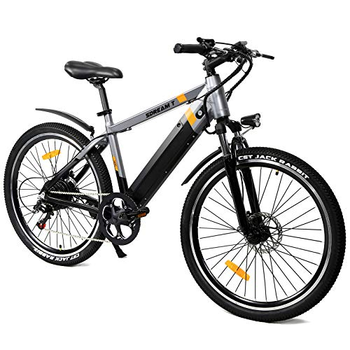 SDU 350W Electric Mountain Bike for Adults SDREAM T350, Hidden Design 48V/10.4Ah Removable Battery, 26″ Gray Ebike Max 20 MPH Cruise Feature, Front Suspension Bicycle for Mountain Trail/Commuting