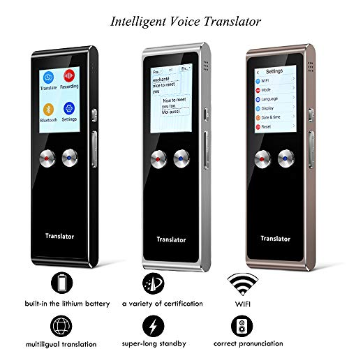 Translator Device Smart Instant Voice Translator Bluetooth WiFi Support 70+ Languages for Travelling Abroad Learning Shopping Business Chat Translations (one Size, Black)