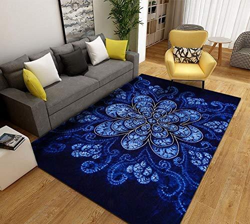 Zuonuoo Design Alfombra De Salón,Alfombra Azul Oscuro con Flores de Palacio, Alfombra clásica con Estampado Oriental,Decoración del Hogar 40X60CM
