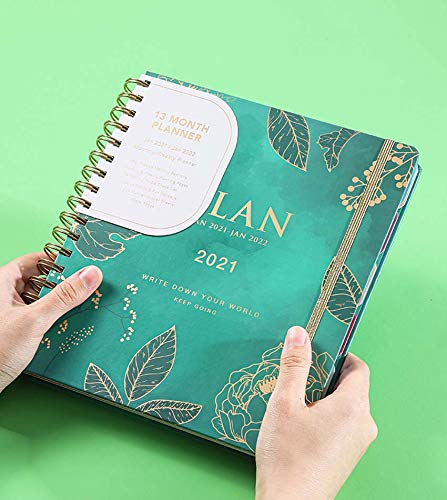 ZHUHUI College Ruled Spiral Journal/Notebook- Lined Journal with Premium Thick Paper, Hardcover,Password notebook with color tabs, Perfect for School, Office or Home - 9.25'' x 8.27''(B5 Size green)