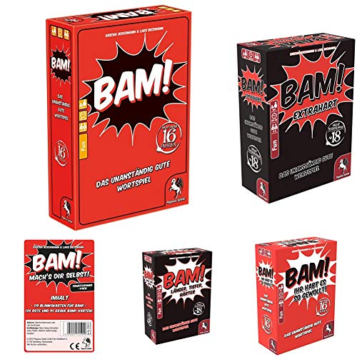 Pegasus Spiele 18300G - BAM! - Das unanständig Gute Wortspiel + BAM! - Extrahart + Ihr habt es so gewollt + Länger, Tiefer, Härter + Mach's dir selbst Blankokarten Pack