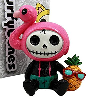 """Ebros Gift Furry Bones Tropical Pina Colada Pineapple Pink Flamingo Costumed Skeleton Monster Collectible Figurine 3.25"""" H Furrybones Collector Item Halloween Macabre Gothic Accent"""