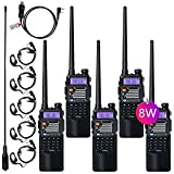TIDRADIO UV-5R High Power Ham Radio Handheld Walkie Talkie with 3800mAh Battery and Driver Free Programming Cable (5 Pack)