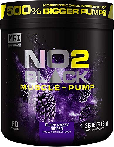 MRI NO2 Black Nitric Oxide Supplement for Pump, Muscle Growth, Vascularity & Energy - Powerful NO Booster Pre-Workout with Citrulline + 60 Servings (Black Razzy Ripped)