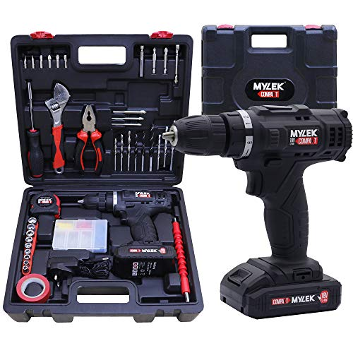 MYLEK Cordless Drill Set 18v Electric Driver DIY Combi Screwdriver Tool Kit, 1500mAh Li-Ion Battery, Variable Speed, LED Light, Lightweight Design, 90 Piece Accessory and Carry Case