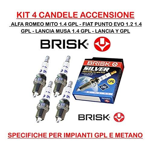 KIT 4 CANDELE ACCENSIONE PUNTO EVO,PANDA,GRANDE PUNTO 1.4 GPL CODICE BR14YS