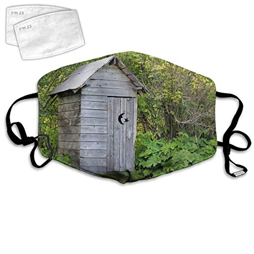 Multi Usage Face Cover UP Vintage Farm Life Cottage Barn Shed in Forest Trees Leaves Picture Balaclava Reusable Windproof Mouth Cover with 2 Filter