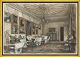 Berkin Arts Marco Rudolf Von Alt Giclee Lienzo Impresión Pintura póster Reproducción Print(Salón en el apartamento del Conde Lanckoronski en Viena) #XLK
