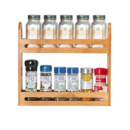 JackCubeDesign Bamboo 2 Tier Spice Jar Rack Encimera de la cocina Worktop Display Organizer Botellas de especias Holder Stand Shelters (32.4 x 7 x 27.4 cm) -: MK377A