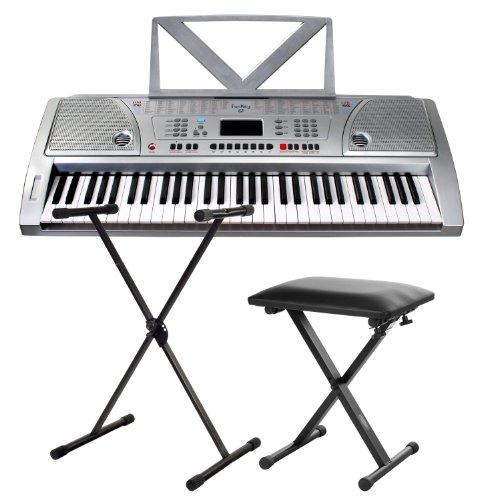 Funkey 61 Keyboard inkl. höhenverstellbarem Ständer und Sitzbank (61 Tasten, 100 Klangfarben, 100 Rhythmen, 8 Demo Songs, Netzteil, Notenständer)