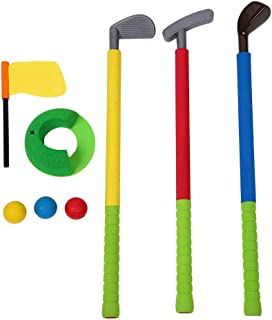 Forevive Children's Golf Club Set Soft Foam Children's Golf Game 3 Golf Clubs,3 Balls,One Practice Hole with Flags Indoor and Outdoor Children,Suitable for Preschool Children's Early Education Toys