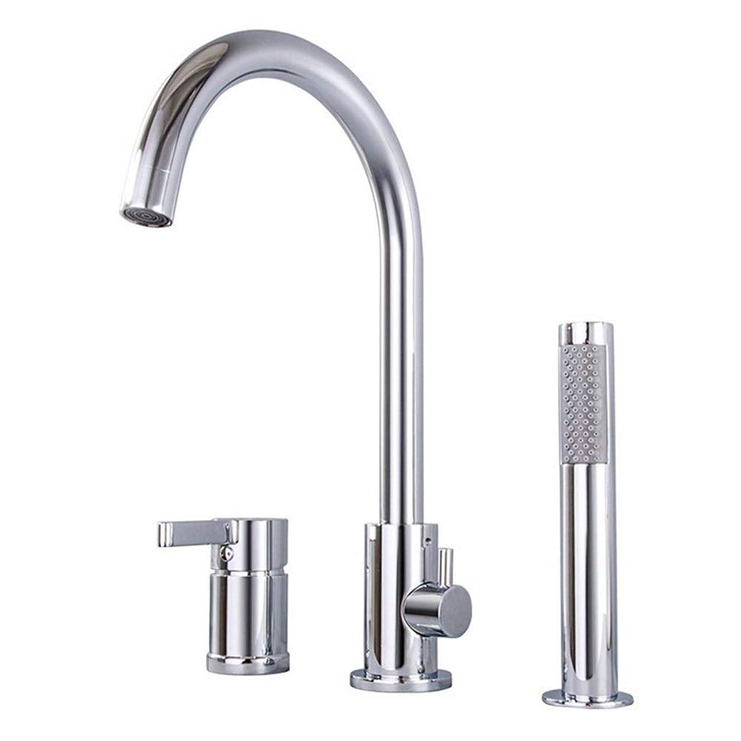 アイザックスケート鎖Luckya ハンドシャワー浴室のシャワーバスタブコンボ蛇口、スリーピースの銅の浴槽の蛇口、シリンダ側ホットとコールド蛇口プルシャワーセット、簡単なインストール