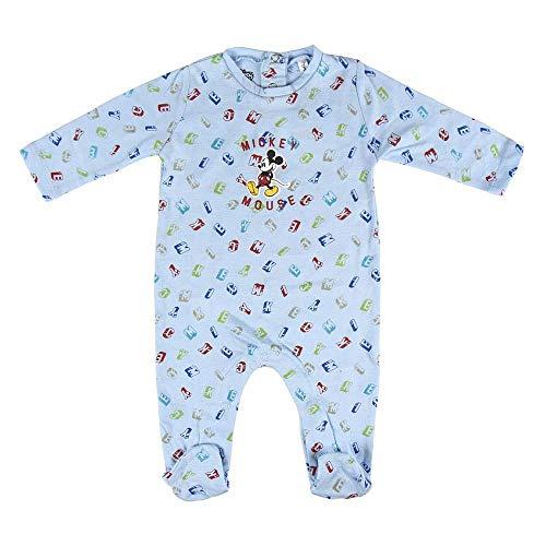 Cerdá Pelele Manga Larga Bebe Niño de Disney Mickey Mouse Juego de Pijama, Azul Claro, 6 Meses para Bebés