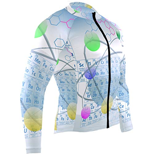 SLHFPX Chemical Periodic Table Atoms Mens Cycling Jersey Shirts Long Sleeve Road Riding Skinsuits Outfit