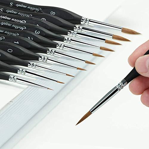 Fuumuuui Kolinsky Sable Detail Paint Brush Set – 10 pennelli in miniatura di visone siberiano per dettagli fini e pittura artistica, acrilico, acquerello, olio, martello da guerra, modellini fai da te
