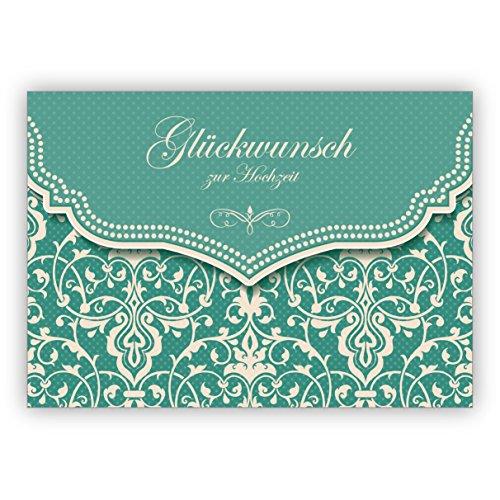 Mooie trouwkaart met vintage damast patroon in edel lichtblauw turquoise: felicitatie voor de bruiloft • edele felicitatiekaart voor de mooiste dag van het leven 16 Grußkarten