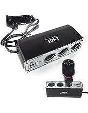 3-Socket Sigarettenaansteker Splitter 12 V Auto Power DC Outlet Adapter USB Car Charger