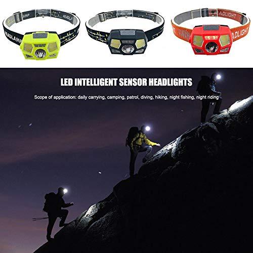 Wovemster Sensor Inteligente LED Deportes Al Aire Libre Luz de La Cabeza Linterna del Faro Linterna Linterna Faro Resistente y Resistente A Salpicaduras IPX4 Carga por USB