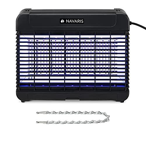 Navaris Destructeur Dinsectes Électrique - Tue Mouche Électrique Lumière LED - Destructeur Insecte UV Lampe Anti Moustiques Chaîne et Grille