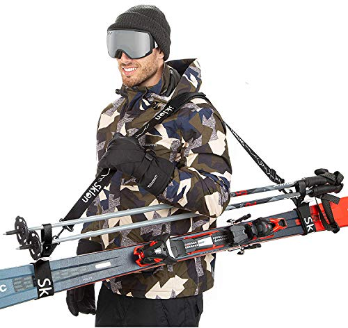 Sklon Ski Strap and Pole Carrier | Avoid The Struggle and Effortlessly Transport Your Ski Gear Everywhere You Go | Features Cushioned Shoulder Sling | Great for Families - Men, Women and Kids - Black