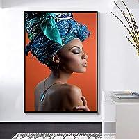 """キャンバスのポスターとプリントのアフリカのヌード女性のヘッドバンドの絵画リビングルームの壁の芸術の写真装飾的な絵画-40x50cm / 15.7""""x19.7"""" フレームレス"""