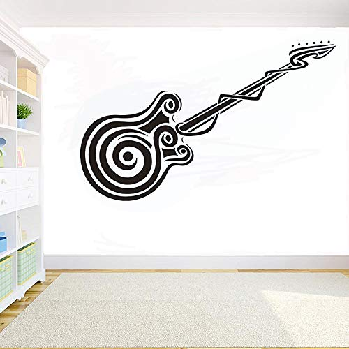 wopiaol Musikinstrumente Gitarre Aufkleber raumdekoration Vinyl wandaufkleber Gitarrist Musik Tastatur Kopfhörer wandkunst Aufkleber 129x42 cm