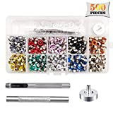 Fuman Forest 3/16 inch Multi-Color Grommet Kit,500 Sets Grommets Eyelets with 3 Pieces Install Tool Kit,Metal Eyelets with Installation Tools and Operating Instruction Book in Clear Box