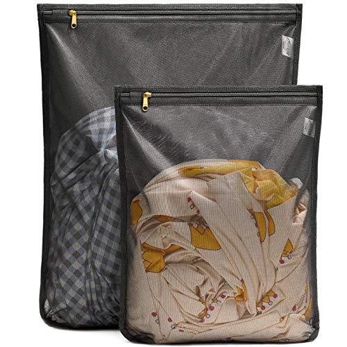 Tenrai 2016design Delicates Laundry Bags, reggiseno fine mesh Wash bag, con cerniera, protegge il miglior abiti con la rondella (nero, set di 2)