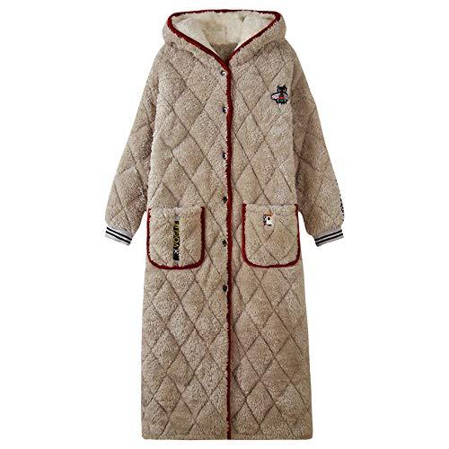 ASADVE Invierno cálido Albornoz Mujer algodón súper Grueso y cómodo camisón Letra Femenina Bordado Pijamas cálidos-9839LD_L