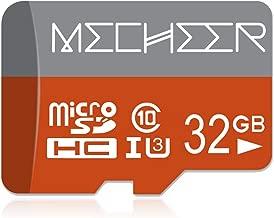Micro SD Card 32GB, MECHEER Memory Card Micro SDHC Card Mini TF Card Class 10 UHS-3 Flash Memory Card High Speed 80MB/s C10, U3, Full HD, 32GB microSD Card, Red/Gray