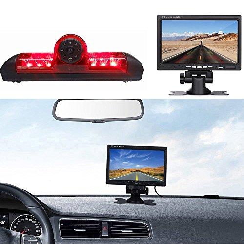 【Rückfahrkamera Transporter +7 Zoll TFT LCD Bildschirm Auto Monitor】Bremsleuchte Auto Dach Rückfahrkamera für Fiat Ducato X250/Peugeot Boxter/Citroen Jumper/Dodge, HD Auto Monitor für Alle Autos