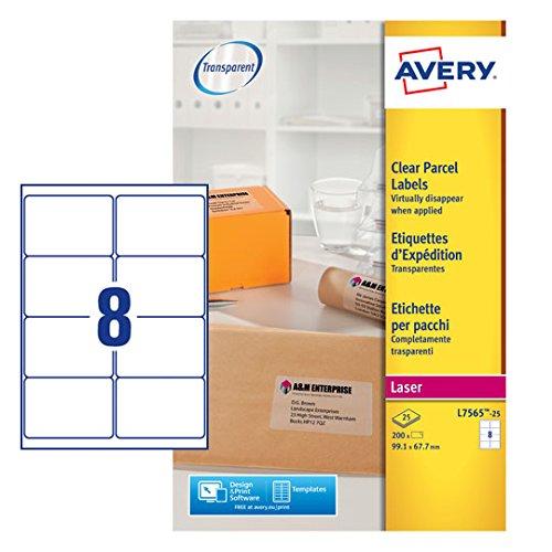 Avery Etiketten für Laserdrucker, transparent