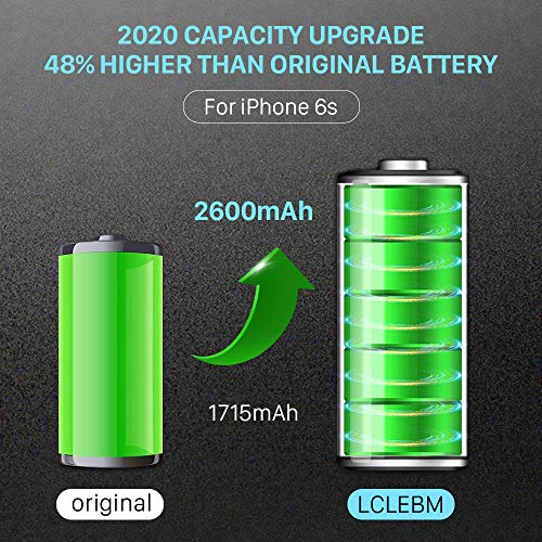 LCLEBM [2600mAh] Battery for for iPhone 6S, New 0 Cycle Higher Capacity Battery Replacement for iPhone 6S,Only for iPhone 6S Battery