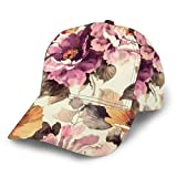 Baseball Cap Pink Rose Peony Flowers Print Mother's Day Dad Caps Classic Fashion Casual Adjustable Sport for Women Hats