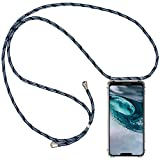 CLM-Tech Handykette kompatibel mit Motorola Moto G7 Power - Hülle mit Kordel zum Umhängen - Silikon Schutzhülle transparent mit Band Schnur, blau schwarz
