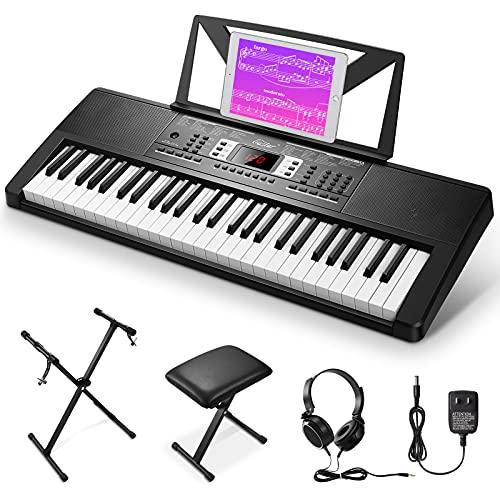 Eastar EK-54A 54 Tasto Tastiera Musicale di Pianoforte Kit, Elettronica Pianola con Supporto Tastiera Panca Pianoforte Cuffie Adesivo nota Tastiera Alimentazione, Pianoforte Digitale per Principianti