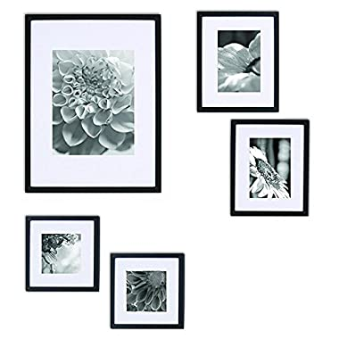 Gallery Perfect 5 Piece Black Wood Photo Frame Wall Gallery Kit. Includes: Frames, Hanging Wall Template, Decorative Art Prints and Hanging Hardware