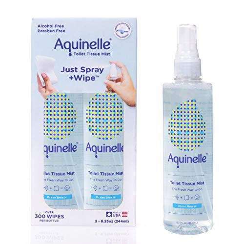 Aquinelle Toilet Tissue Mist, Eco-Friendly & Non-Clogging Alternative to Flushable Wipes Simply Spray On Any Folded Toilet Paper 2PK OCEAN BREEZE 8.25OZ