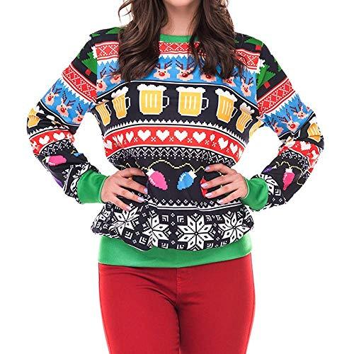 Damen Oberteile Young Fashion Print Weihnachten 3D Elegante Pullover Freizeit Langarm Rundhals Party Brief Lichterkette Sweatshirt Tops Bluse (Color : Grün, Size : S)