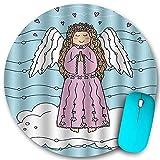 Tapis de souris rond en caoutchouc antidérapant, Funky Angel Wings Girl On Clouds for Love Christmas Hearts Doodle Pale Azure Blue White, Imperméable à l'eau Durable Tapis de souris Ordinateurs de bur