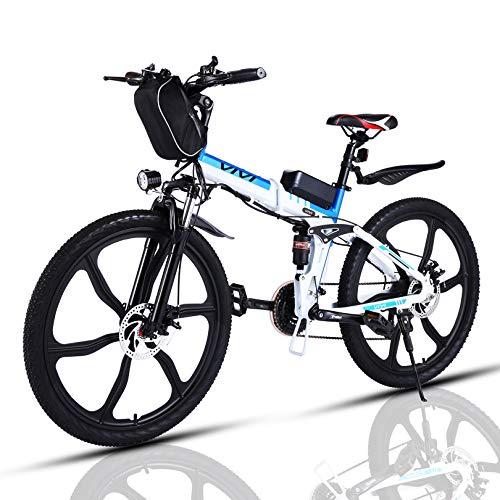 VIVI Bicicleta Electrica Plegable 250W Bicicleta Eléctrica Montaña, Bicicleta Montaña Adulto Bicicleta Electrica Plegable con Rueda Integrada de 26 , Batería de 8 Ah, 25 km h Velocidad MÁX