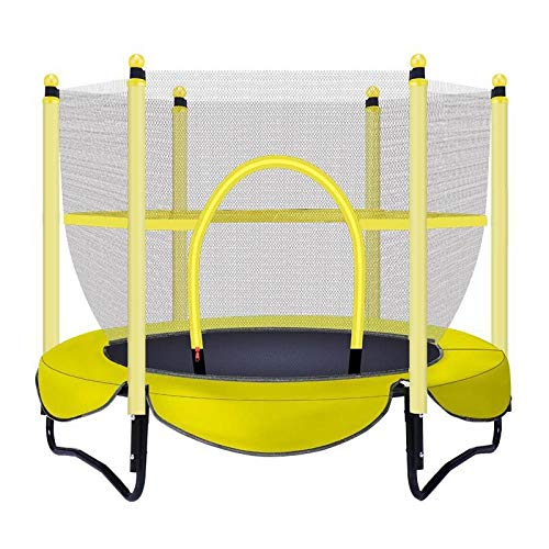 FHKL Portable Children's Outdoor Jumping Bed, Household With Protective Net Trampoline Safe And Durable Bearing Weight 150kg,Yellow
