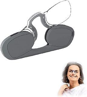 Hengyuan Lunettes de lecture portables Mini pince-nez pour hommes et femmes, lunettes sans cadre élégantes avec étui de po...