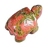 HLWJ Hundido Natural de Cristal de Cuarzo Rosa 1PC Tortuga Amethyst Opal Animales de Piedra curativo Decoración del Acuario Crafts Pequeño Decoración (Color : Unakite)